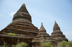Three temples in bagan on a bluebird day. Burma Royalty Free Stock Image