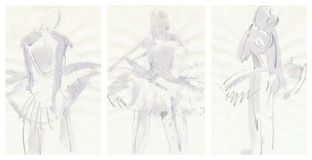 Three tender ballerinas, drawing Royalty Free Stock Photos