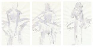 Three tender ballerinas, drawing Royalty Free Stock Photos
