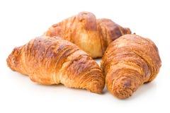 Three tender croissants, isolated Stock Image