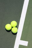 Three Tennis Balls On The Service Line Royalty Free Stock Image