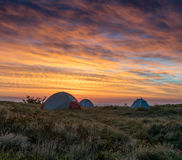 Three Tents At First Light Stock Image