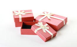 Three terracotta festive boxes on white Stock Photo