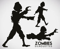 Three Terrifying Zombie Silhouettes, Vector Illustration Stock Images