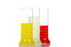 Three test flasks Stock Images