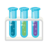 Three test tubes with colored liquids icon Stock Photo