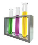 Three Test Tubes In A Metal Stand Royalty Free Stock Photos