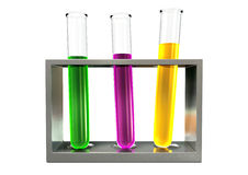 Three Test Tubes In A Metal Stand Front Royalty Free Stock Image