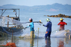 Three thai fisherman Stock Image