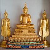 Three thai golden buddha image Royalty Free Stock Photography