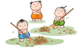 Three Thai kids sweep the leaves  Royalty Free Stock Image