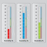 Three thermometers with different temperatures Stock Photos