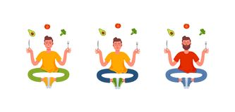Three thin men sitting in the lotus position with a fork and knife in their hands and around them a healthy meal. Avocado, vector illustration