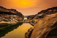 Three Thousand. The Amazing of Rock,Natural of Rock Canyon in Khong River after the water come down in Summer,Three Thousand Hole,Ubonratchathanee Province,North Royalty Free Stock Image