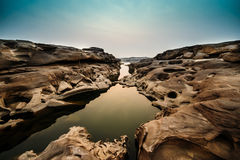Three Thousand. The Amazing of Rock,Natural of Rock Canyon in Khong River after the water come down in Summer,Three Thousand Hole,Ubonratchathanee Province,North Stock Image