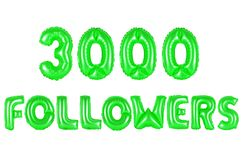 Three thousand followers, green color Royalty Free Stock Photos