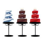 Three tier cakes on stands isolated. Multitier cakes with decorated layers on stands over a white background royalty free illustration