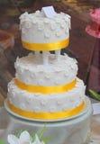 Three Tier Floral Wedding Cake Stock Photos