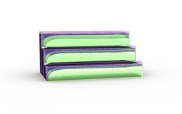 Three tier with green glass of display stand Stock Images