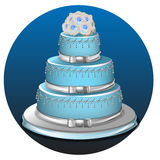 Three tier light blue wedding cake. Realistic three tier light blue wedding cake and decoration on silver platter vector illustration stock illustration