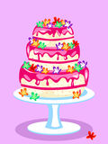 Three tier pink cake Royalty Free Stock Photo