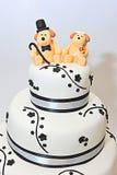 Three tier wedding theme fondant cake Royalty Free Stock Images