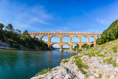 Three-tiered aqueduct Pont du Gard in  Provence Royalty Free Stock Photo