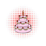 Three-tiered birthday cake with candle comics icon. On a white background Royalty Free Stock Photos
