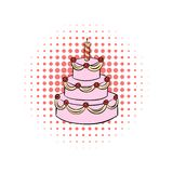 Three-tiered birthday cake with candle comics icon royalty free illustration