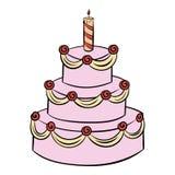 Three-tiered birthday cake icon cartoon Stock Photos