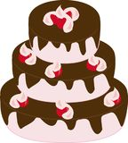 Three-tiered cake with chocolate icing. And cherry Stock Photo