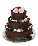 Three Tiered Chocolate Cake Royalty Free Stock Photos