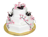 Three Tiered Iced Cake. Isolated with clipping path stock images