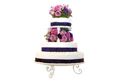 Three tiered wedding cake Stock Photo