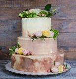 Three-tiered wedding ombre cake decorated with roses and greener Stock Images