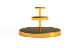 Three tiers of round stand gold copy. Three tier of round stand for display by 3D rendering Royalty Free Stock Photography