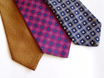 Three ties. Three neckties against white background stock photography
