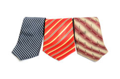 Three ties on white background Stock Photography