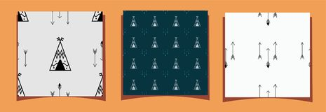 Three tiles of seamless pattern with wigwam and arrows.  Vector illustration scandinavian style royalty free illustration