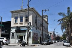 A three time firehouse turned two time bar, 1. First built in 1854 as the San Francisco Fire Station 7 for the Young American Eagle Company, at the time still royalty free stock photo