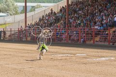 Three time world champion Alex Wells performs hoop dance at Williams Lake Stampede royalty free stock images