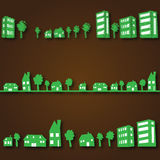 Eco-city with eco-homes. Three times eco-city eco-homes with a brown background vector illustration