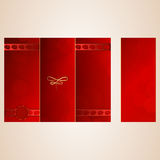 Three times a folded sheet and letterhead. Red. Vector Royalty Free Stock Photography