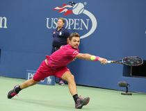 Three times Grand Slam champion Stanislas Wawrinka of Switzerland in action during his final match at US Open 2016 Royalty Free Stock Photography