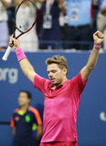 Three times Grand Slam champion Stanislas Wawrinka of Switzerland celebrates victory after his final match at US Open 2016 Royalty Free Stock Images