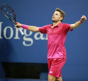 Three times Grand Slam champion Stanislas Wawrinka of Switzerland celebrates victory after his final match at US Open 2016 Royalty Free Stock Photography