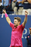 Three times Grand Slam champion Stanislas Wawrinka of Switzerland celebrates victory after his final match at US Open 2016 Stock Image