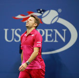 Three times Grand Slam champion Stanislas Wawrinka of Switzerland celebrates victory after his final match at US Open 2016 Royalty Free Stock Photos