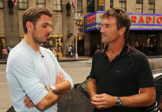 Three times Grand Slam champion Stanislas Wawrinka of Switzerland during CNN TV interview with Pat Cash. NEW YORK - SEPTEMBER 12, 2016: Three times Grand Slam Royalty Free Stock Images
