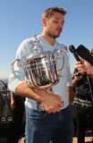 Three times Grand Slam champion Stanislas Wawrinka of Switzerland during interview with US Open trophy Stock Photography
